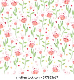Seamless floral pattern with tender pink flowers. Vector illustration for textile and fabric, wallpaper and wrapping paper design.