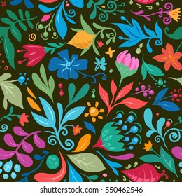 Seamless Floral Pattern for Textile Design. Abstract Vector Background. Mix of Flowers on Dark