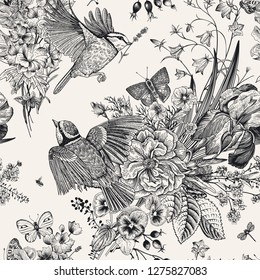 Seamless floral pattern. Tits, flowers, butterflies. Vector vintage botanical illustration. Black and white