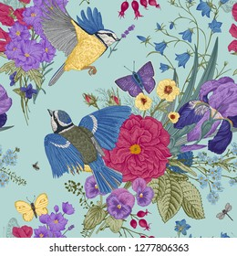 Seamless floral pattern. Tits, flowers, butterflies. Vector vintage botanical illustration. Mint and purple color