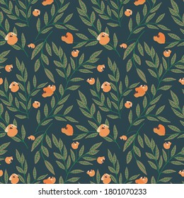 Seamless floral pattern with tree branches and small pink flowers on dark green background. Vintage Botanical print, Wallpaper, fashion template.