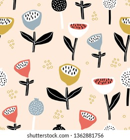 Seamless floral pattern in trendy scandinavian style. Modern flower texture with abstarct shapes and textures.Vector modern background