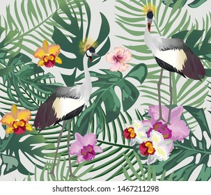Seamless floral pattern with tropical flowers and birds.-เวกเตอร์