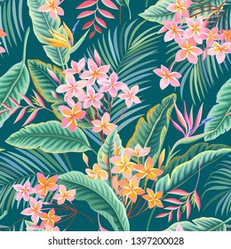 seamless floral pattern. tropical leaves and flowers