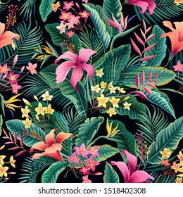 seamless floral pattern, tropical leaves and flowers