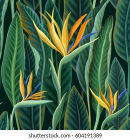 seamless floral pattern with tropical leaves and flowers