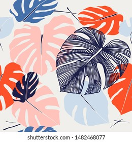 Seamless floral pattern from Tropical Monstera deliciosa plant. Tropical leaves in retro style. Hand drawn pattern. Line art. Vector illustration