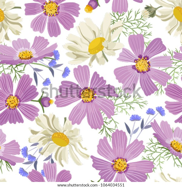 Seamless Floral Pattern Vector Beautiful Summer Stock Vector