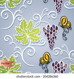 Seamless Floral Pattern (Vector). Hand Drawn Texture with Grape