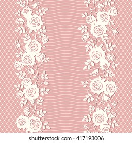 Seamless floral pattern. Veil with roses and leaves. Lace texture. Vector pink background.