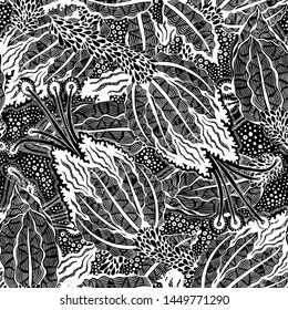 Seamless floral pattern vintage flowers art black and white graphic vector pattern.