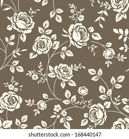 Seamless floral pattern with vintage rose silhouette on brown background. Vector wallpaper with blooming flowers and leaves