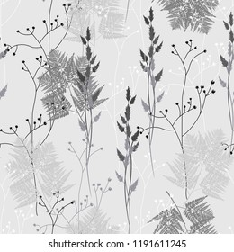 Seamless floral pattern in vintage style. Leaves and herbs. Botanical illustration. Thin delicate line silhouettes of different. Grey background.