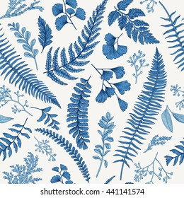Seamless floral pattern in vintage style. Leaves and herbs in blue. Botanical illustration. Boxwood, seeded eucalyptus, fern, maidenhair. Vector design elements.