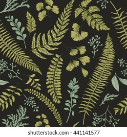 Seamless floral pattern in vintage style. Leaves and herbs. Botanical illustration. Boxwood, seeded eucalyptus, fern, maidenhair. Vector design elements.