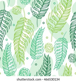 Seamless floral pattern in vintage style. Ferns and spirals in tribal style. Botanical illustration. Vector design elements.