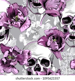 Seamless floral pattern. Violet Tulips flowers and skulls on a monochrome gray background. Vector illustration.