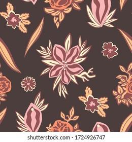 Nahtlose Blumenmuster mit Vulva. Feminismus-Konzept. Flachhandgezeichnete Abbildung. Abstrakter Jahrgang und blühende Ornament.