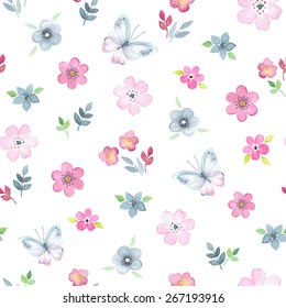 Seamless floral pattern with watercolor flowers and butterflies in vintage style.