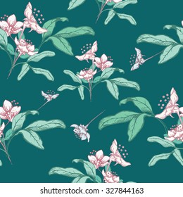 Seamless floral pattern with white flowers