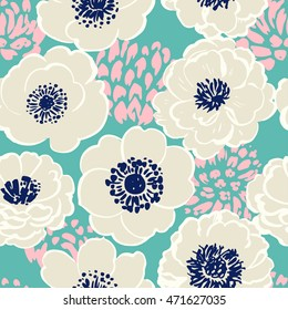 Seamless floral pattern with white peonies