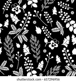 Seamless floral pattern. White silhouetted summer motifs on black background.
