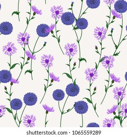 Seamless floral pattern with wild meadow flowers, herbs. Delicate flower print for wallpaper, dress, clothes, surface. Trendy colors. Free order.