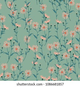 Seamless floral pattern with wild meadow flowers, herbs. Delicate flower print for wallpaper, dress, clothes, surface. Trendy color