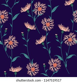 Seamless floral pattern with wild meadow flowers, herbs. Delicate flower print for wallpaper, dress, clothes, surface. Trendy colors.