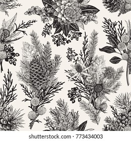 Seamless floral pattern. Winter christmas decor. Evergreen, cone, succulents, flowers, leaves, berries. Botanical vector vintage illustration. Black and white