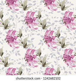 Seamless floral pattern with wonderful lilies Vector Illustration