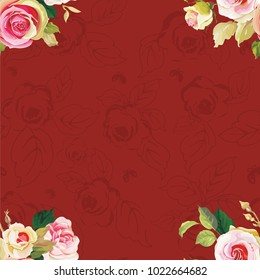 Seamless floral pattern with wonderful roses Vector Illustration