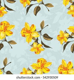 Seamless floral pattern with yellow flowers Vector Illustration EPS8