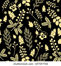 Seamless floral pattern with yellow silhouetted botanic motifs on black background.