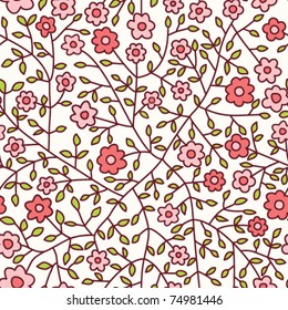 Seamless floral pattern.Endless texture with small daisy.