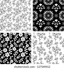 Seamless floral patterns black and white collection