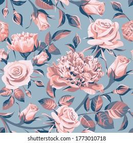 Nahtlose Blumenmuster mit rosafarbenen und blauen Rosen auf blauem Hintergrund.