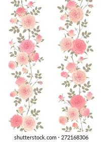 Seamless floral patterns set. Branches of english roses isolated on a white background. Vector borders with climbing roses.