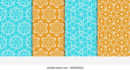 Seamless floral patterns set. Vector illustration. Texture for design wallpaper, pattern fills, web page, banner, flyer. ethnic ornament. blue and orange color