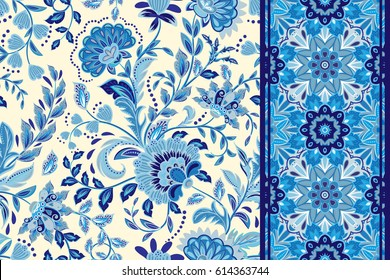 Seamless floral patterns set. Vintage flowers backgrounds and borders. Vector blue ornaments. Gzhel