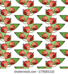 Seamless floral print, vertical borders of bright red tulips. White background. Great for decorating fabrics, textiles, gift wrapping design, any printed materials, advertising, or other design.