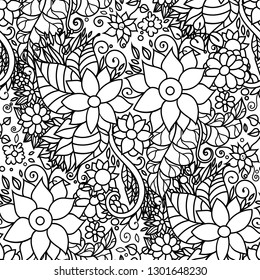 Seamless floral repeating zentangle inspired pattern with flowers and leaves