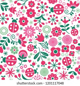 Seamless floral retro vector pattern - hand drawn vintage Scandinavian style textile design with red and green flowers and ladybirds on white. Cute folk art repetitive decoration, wedding invitation o