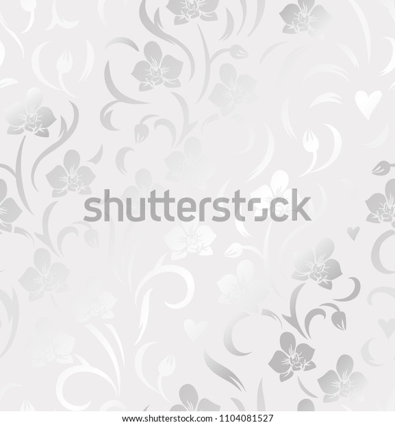 Seamless floral silver pattern with orchids. Decorative vector foiled background.