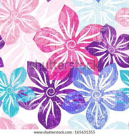2ca013d9c60 Seamless floral spring pattern with pastel translucent colorful flowers and  curls (vector EPS 10)