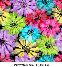 Seamless floral spring pattern with translucent flowers and balls on black (vector EPS 10. You can edit flowers)