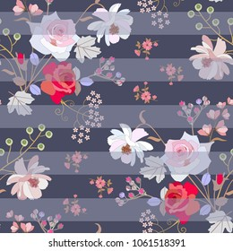 Seamless floral striped pattern with pink and red roses, gentle cosmos and umbrella flowers, bird cherry berries in vector. Fashionable print for fabric. Natural ornament.