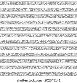 Seamless floral striped pattern. Vector monochrome background. Abstract texture with flowers.