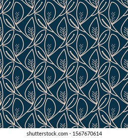 seamless floral tile in ink blue and light peach colors. modern design for textile, fabric, background, wallpaper, backdrop and creative surfaces.