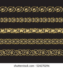 Seamless floral tiling borders. Inspired by old ottoman and arabian ornaments. Gold color on black background
